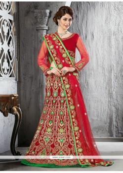 Magnificent Red Velvet Lehenga Choli