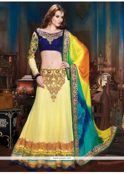 Yellow And Blue Soft Net Lahenga Choli