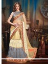 Cream And Grey Georgette Lahenga Choli
