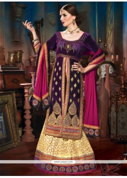 Cream And Purple Pure Cotton Lehenga Choli