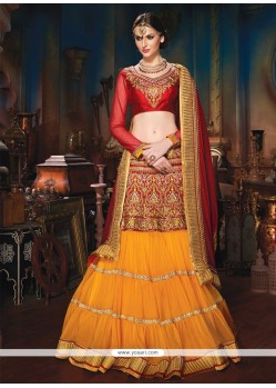 Maroon And Orange Soft Net Lehenga Choli