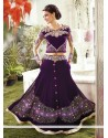 Purple Embroidery Velvet Lehenga Choli