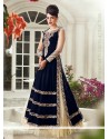 Navy Blue And Cream Velvet Lehenga Choli