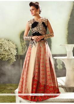 Red And Cream Velvet Wedding Lehenga Choli