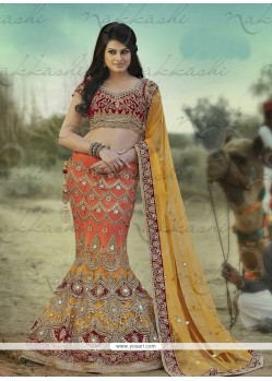 Orange And Yellow Satin Lehenga Choli