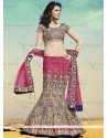 Magenta And Cream Shaded Satin Lehenga Choli