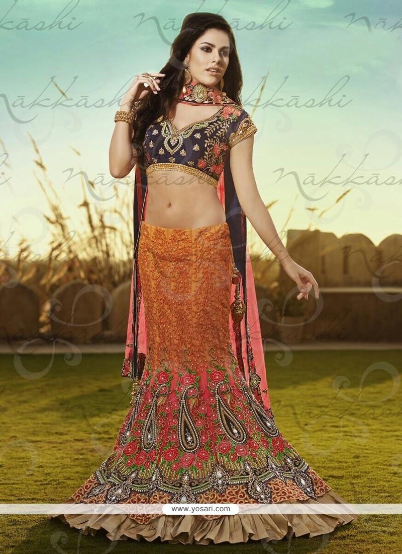 Orange Net And Satin Lehenga Choli