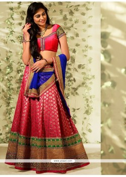 Hot Pink Banarashi Wedding Lehenga Choli