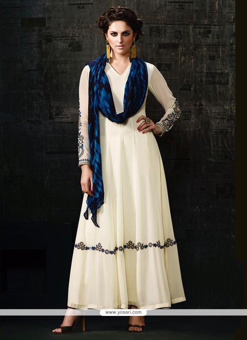 b8a7ba59f9 Buy Ethnic Georgette Off White Anarkali Salwar Kameez | Anarkali Suits