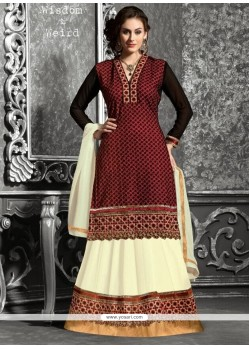 Black And Cream Georgette Lehenga Choli