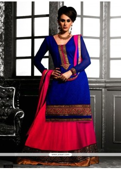 Blue And Magenta Georgette Lehenga Choli