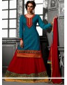 Teal And Red Georgette Lehenga Choli