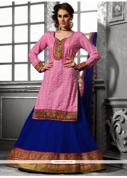Pink And Blue Georgette Wedding Lehenga Choli