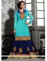 Turquoise Blue Zari Work Lehenga Choli