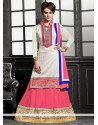 Off White And Pink Georgette Lehenga Choli