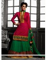 Hot Pink And Green Georgette Lehenga Choli