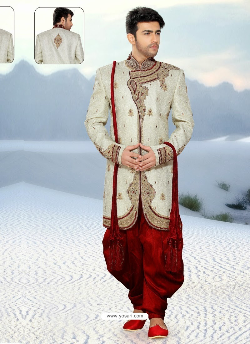 Buy Well-formed Off White Pure Silk Sherwani | Sherwani