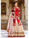 Maroon And Cream Net Lehenga Choli