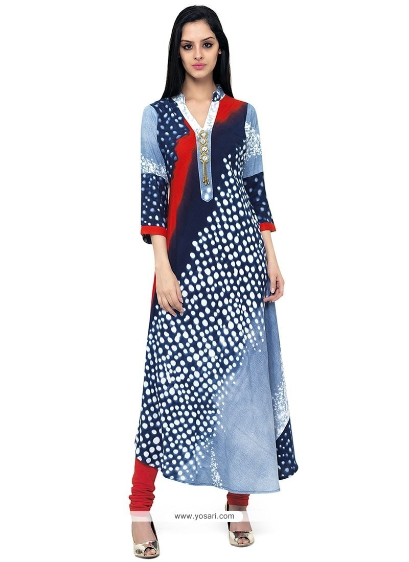 Buy Peppy Print Work Party Wear Kurti Party Wear Kurtis