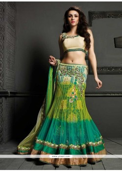 Dazzling Green Net Designer Lehenga Choli