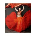 Galvanizing Orange Net Designer Lehenga Choli