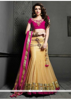 nvigorating Gold Net Lehenga Choli