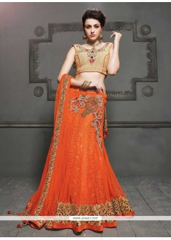 Luxurious Orange Net Lehenga Choli