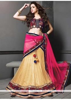 Gold And Pink Net Lehenga Choli