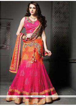 Glorious Orange And Pink Net Lehenga Choli