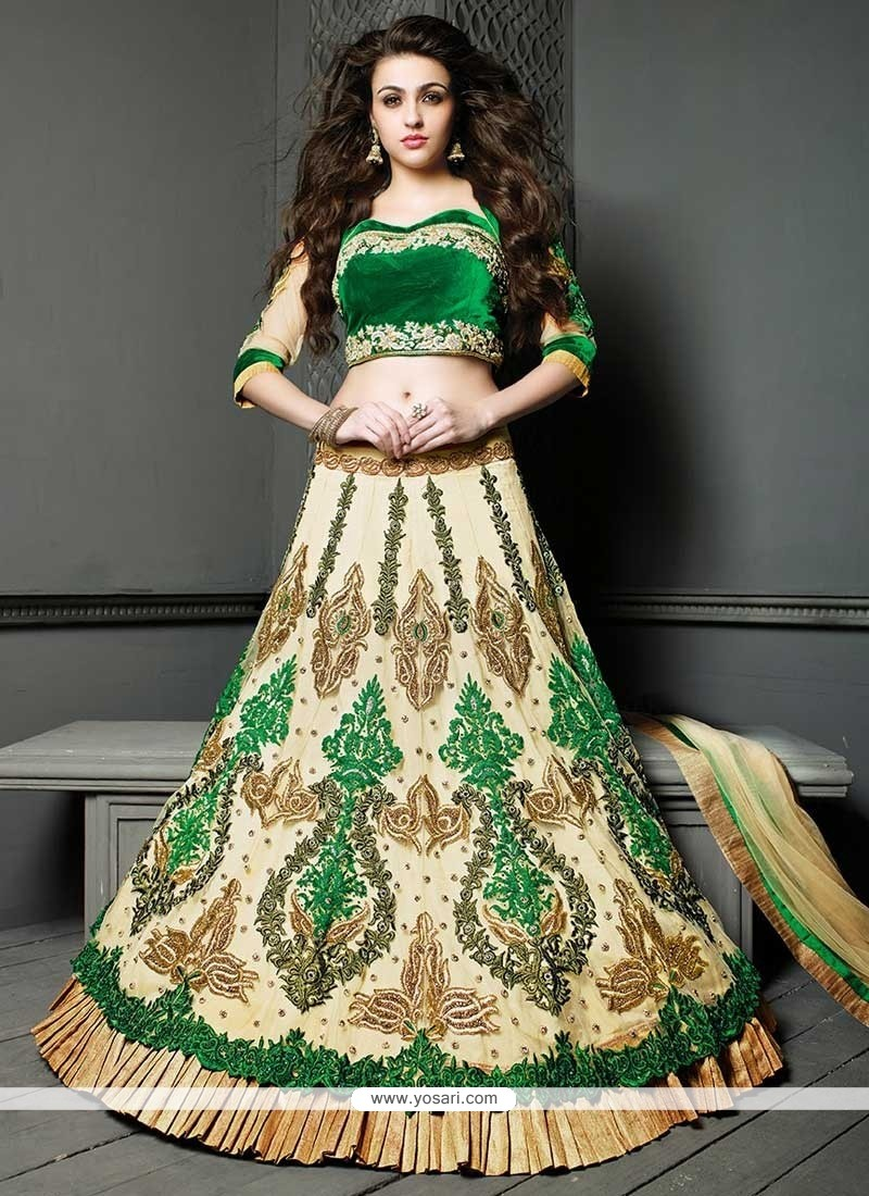 Elite Cream Embroidery Work Lehenga Choli
