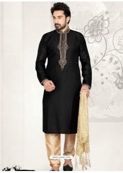 Rousing Blackish Brocade Kurta Pajama
