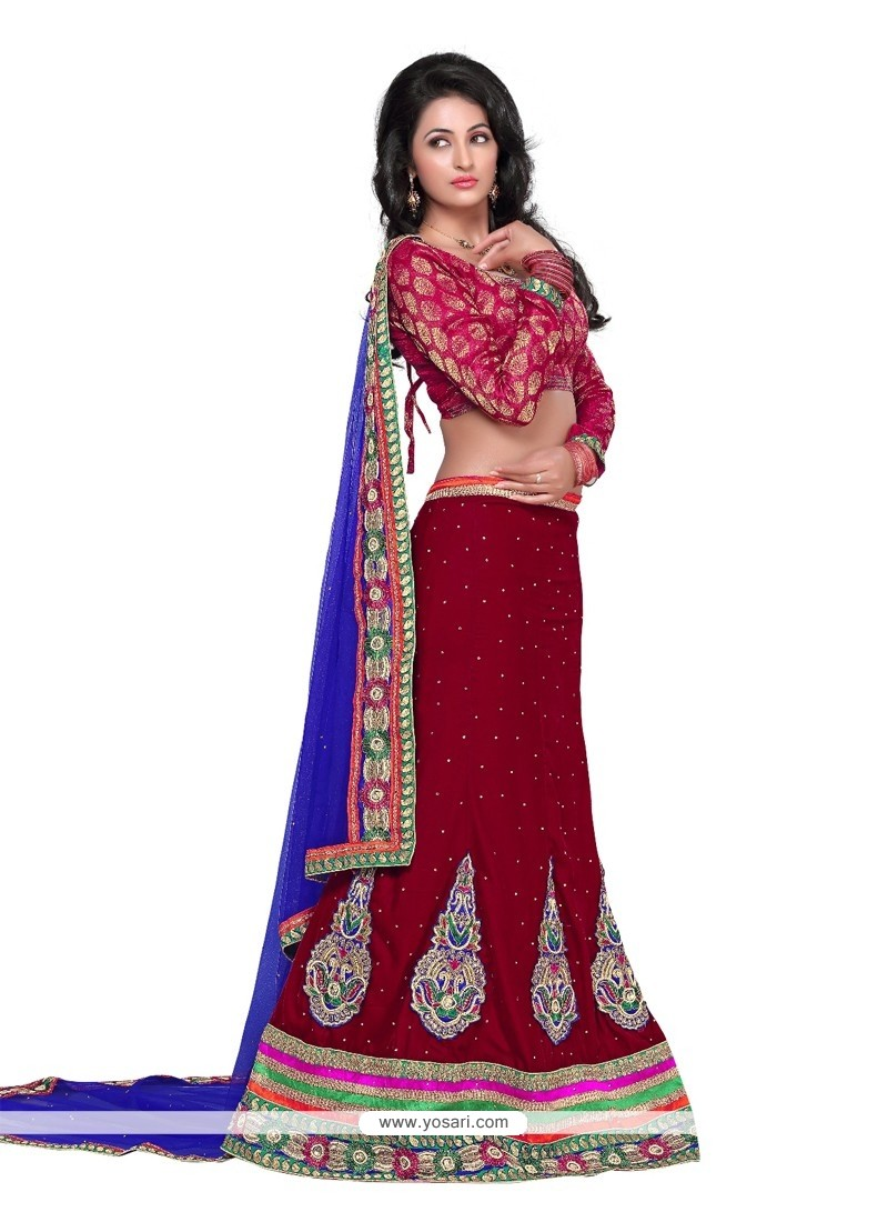 Perfect Maroon Velvet Wedding Lehenga Choli