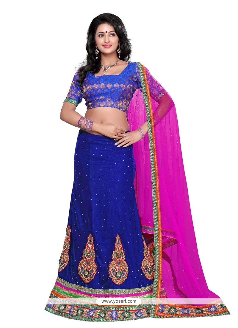 Amazing Blue Embroidery Work Velvet Lehenga Choli