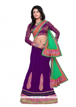 Charming Purple Velvet Wedding Lehenga Choli