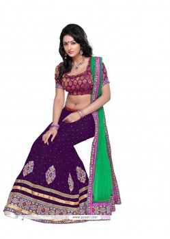 Mesmeric Purple Embroidery Work Lehenga Choli