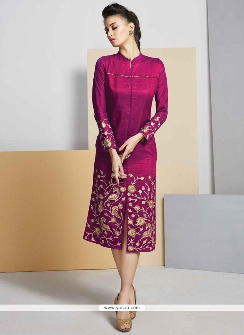 59d85b428f0 Buy Monumental Embroidered Work Art Silk Designer Kurti
