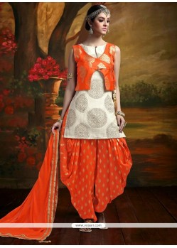 Charming Banarasi Silk Beige And Orange Weaving Work Readymade Suit