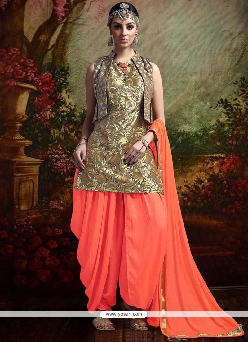 a7c9d6266d Buy Classy Grey And Orange Readymade Suit | Punjabi Patiala Suits