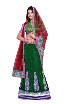 Observable Green Velvet Wedding Lehenga Choli
