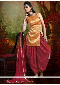 Invigorating Weaving Work Maroon And Orange Banarasi Silk Readymade Suit