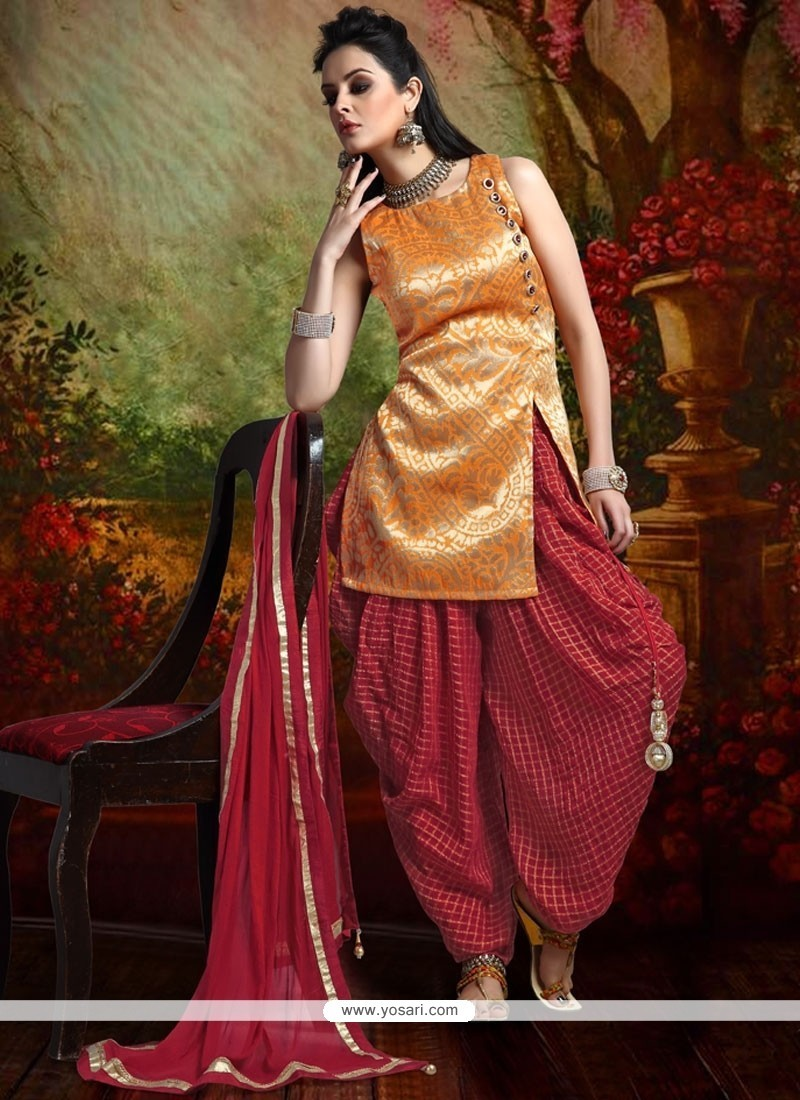 3ae8ad2251 Invigorating Weaving Work Maroon And Orange Banarasi Silk Readymade Suit