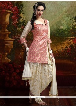 Voluptuous Banarasi Silk Peach Readymade Suit