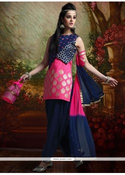 Sparkling Kasab Work Art Dupion Silk Hot Pink And Navy Blue Readymade Suit