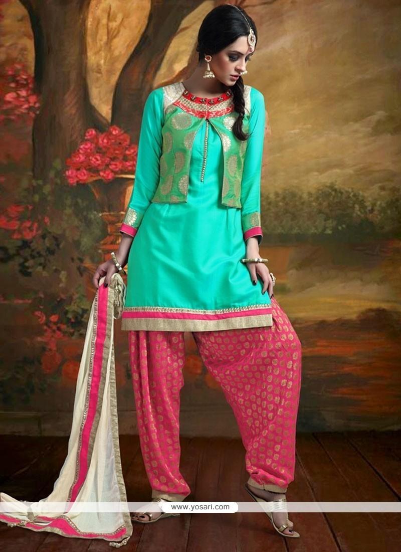 Buy Voluptuous Banarasi Silk Patch Border Work Readymade Suit ...