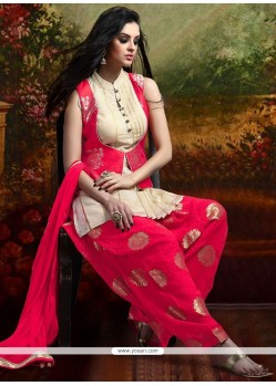 Noble Banarasi Silk Hot Pink Weaving Work Readymade Suit