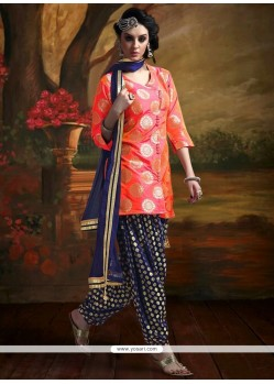 Imposing Weaving Work Orange Banarasi Silk Readymade Suit