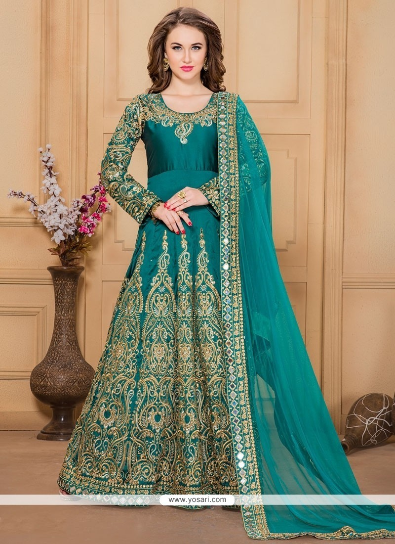 Buy Glossy Resham Work Designer Floor Length Suit | Wedding Suits