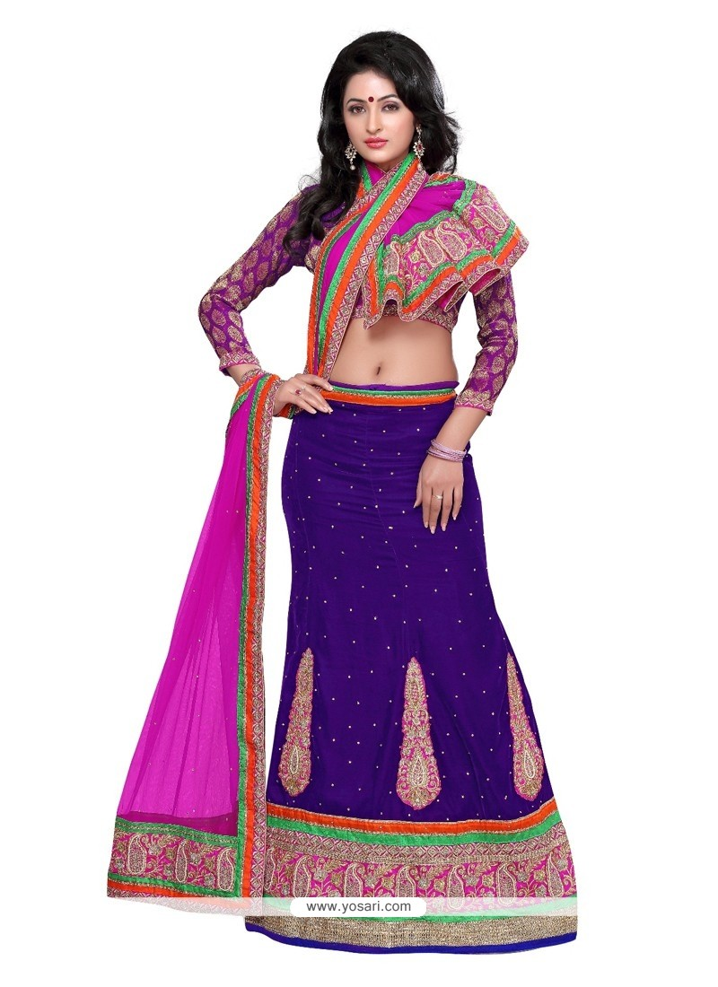 Glorious Blue Velvet Wedding Lehenga Choli