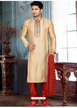 Demure Creamish Wedding Wear Kurta Pajama
