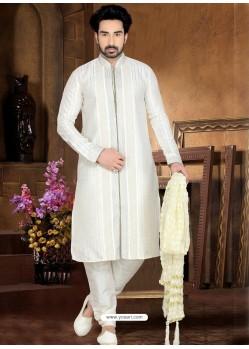 Ethnic Off White Art Dupion Silk Kurta Pajama